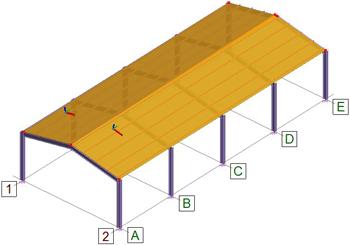 Comment définir le report de charges d'une paroi de toiture, dans le cas d'une structure industrielle