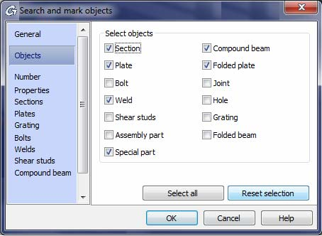 How are material lists with selected elements created