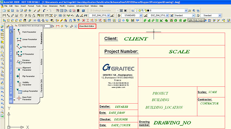 How is a detail drawing header modified