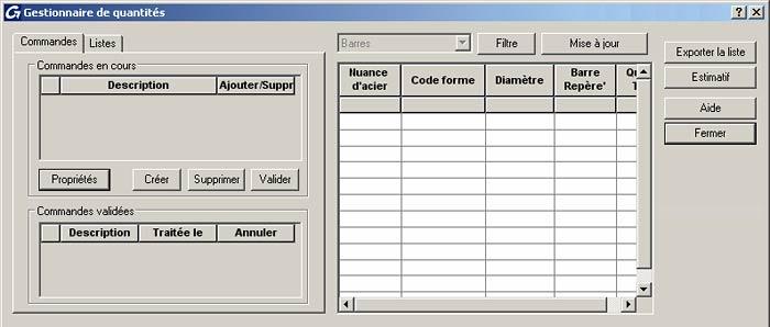 Comment créer une nomenclature à partir du gestionnaire des quantités d'élément