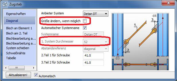 Wie ermittelt Advance Steel den Durchmesser der Stabanker