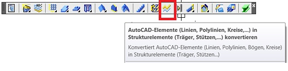 Wie können 2D-Autocad Elemente in Strukturelemente konvertiert werden