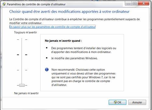 Comment désactiver la protection sur les comptes utilisateurs