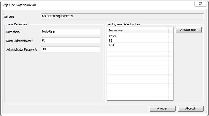 Wie wird eine Multi-User Datenbank erzeugt und in Advance Concrete verwaltet?