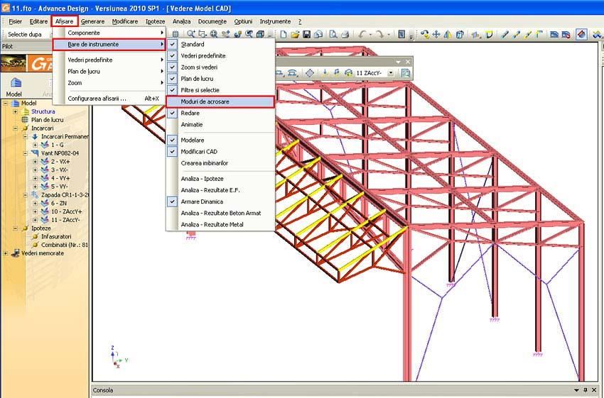 Cum se folosesc modurile de acroşare în Advance Design
