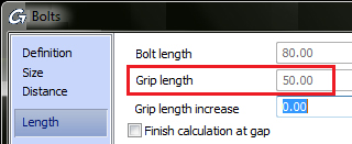What are the calculation differences for bolt grips according to DIN 6914 and DIN EN 14399-4