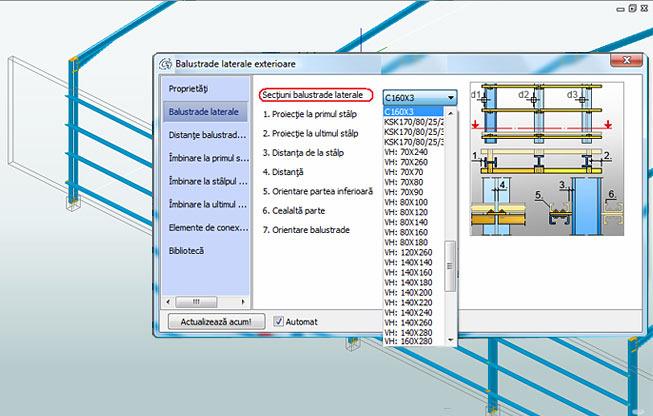 Cum se adaugă profile noi pentru 'Balustrade laterale exterioare'