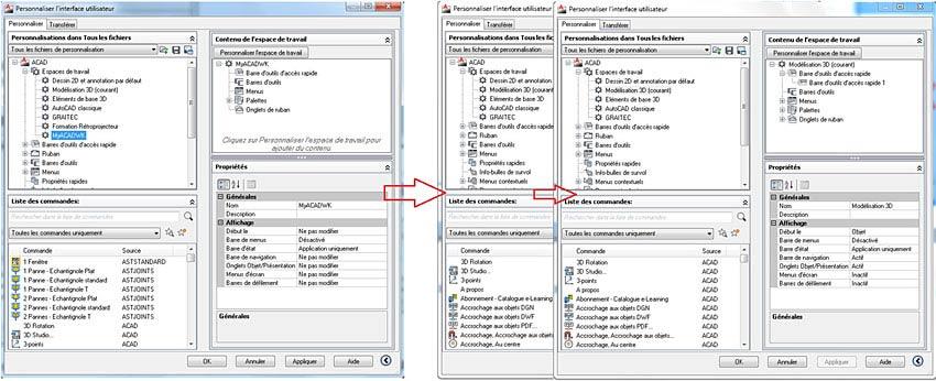 Comment est gérée l'interface utilisateur sur Advance Steel
