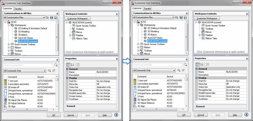 Cum se personalizează interfaţa utilizator în Advance Steel