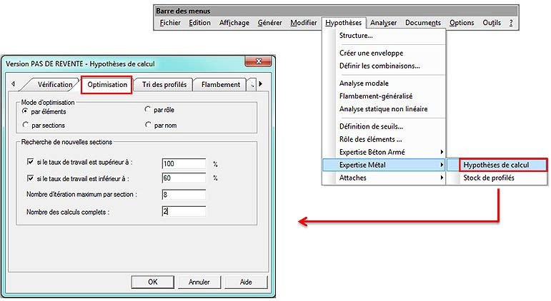 Comment configurer l'optimisation des sections