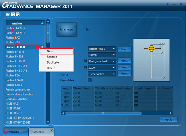 How is an anchor created in the new Graitec Advance Manager
