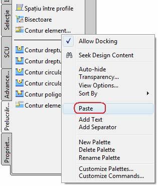Cum se pot integra comenzi suplimentare în paletele de instrumente?