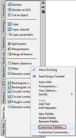 How are additional commands integrated into toolbar palettes