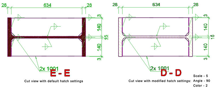 How is the hatch used by automatic / manual cut view in drawings configured