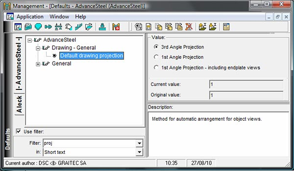 How is Advance Steel configured to use the first angle projection