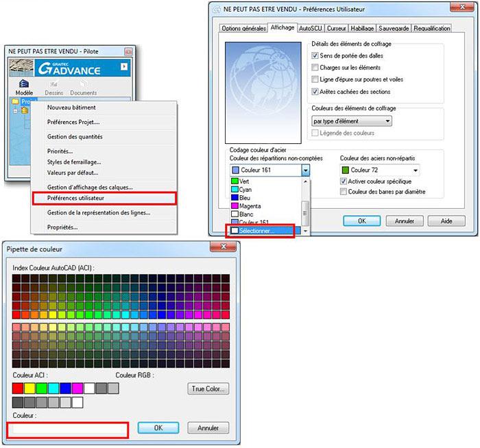 Comment modifier la couleur des aciers?