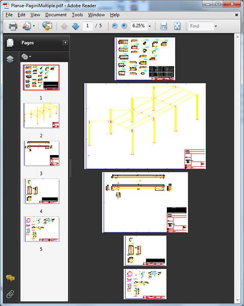Cum se crează un fişier PDF cu mai multe pagini din mai multe planşe?
