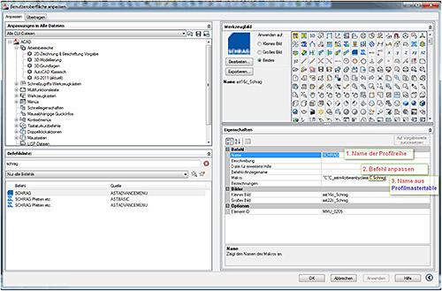 Wie können Anwenderprofile als Befehl auf einem Button gelegt werden?