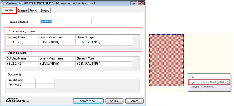 Cum se poate salva un nou standard de denumire a layerelor în Advance Concrete?