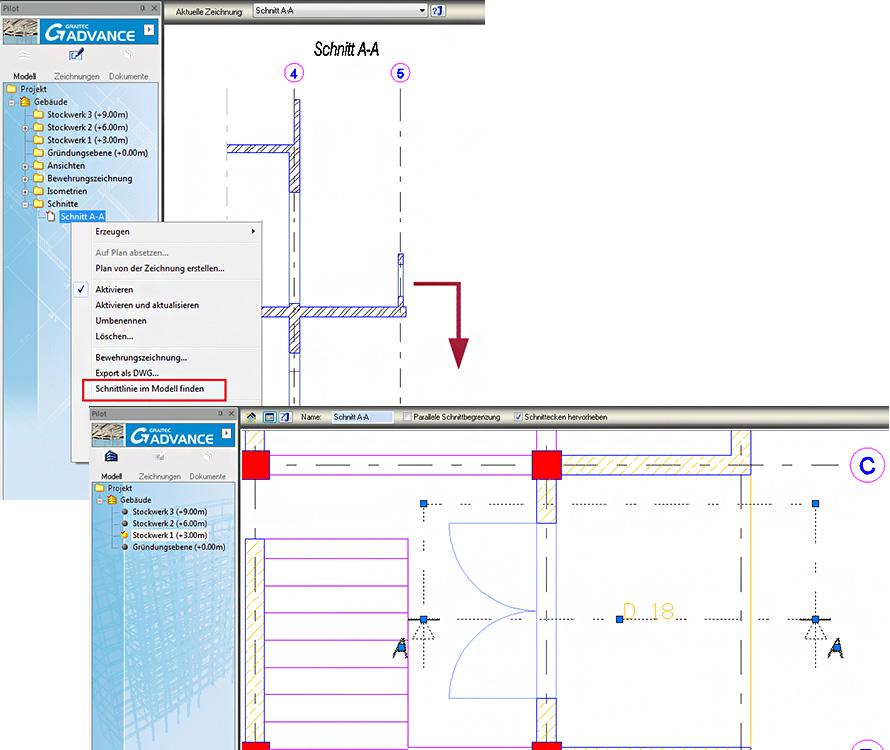 Wie findet man die Position von Elementen im Modell, die in einer Zeichnung enthalten sind?