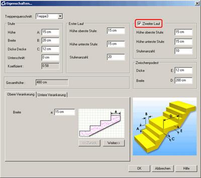 Wie kann ich in Advance Massivbau Treppen erstellen