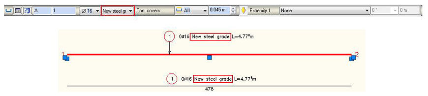 How is a new steel grade added in Advance Concrete?