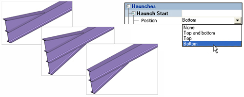 How can I create haunches for steel beams