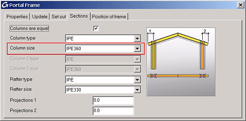 How to change the column and rafter sizes in the Portal Frame macro