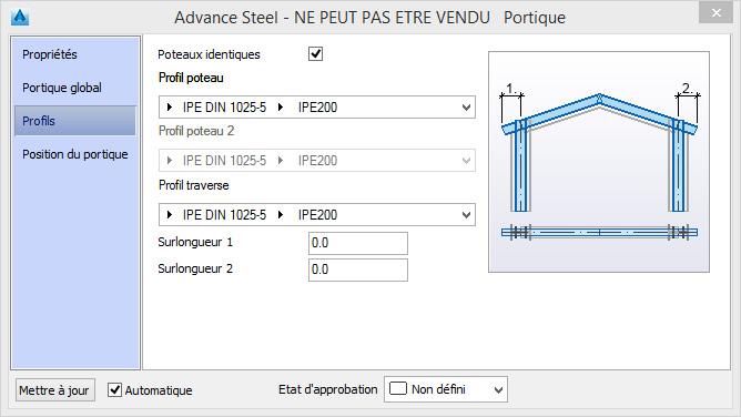 Comment changer la section des poteaux et des traverses par défaut dans la macro portique?