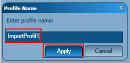 How are the defaults exported and imported in a profile using Graitec Advance Manager 2012?