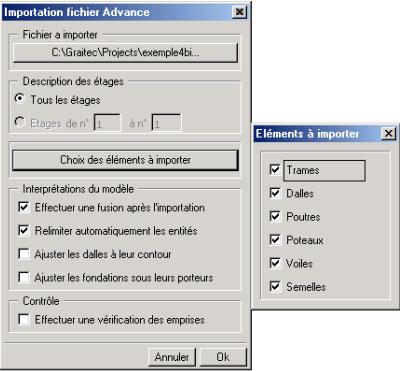 Quelles sont les nouvelles options de CAO permettant de convertir aisément un modèle de coffrage réalisé sur Advance, en fichier de calcul pour Arche Ossature