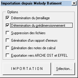 Comment peut-on importer une descente de charges depuis Melody Bâtiment ?
