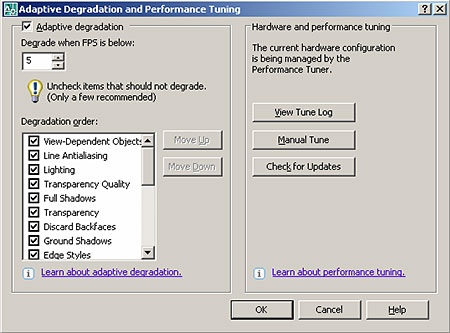 How are the AutoCAD display settings configured ?