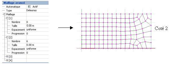 Quels sont les paramètres de maillage pour un élément surfacique par le mailleur avancé de Advance Structure