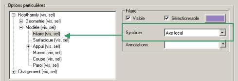 Comment visualiser les déplacements d'un élément filaire dans une direction