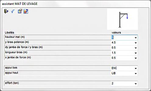 Comment fonctionnent les applications de levage, à savoir l'assistant 'Palonier simple' / 'Palonier 4 charges' / 'Mat de levage'