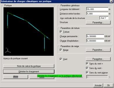 Comment utiliser le générateur de charges climatiques sur une structure 2D