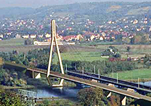Schrägseilbrücke Niederwartha in Meißen, Deutschland