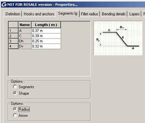 Advance Concrete: Segmentlängen von Stabformen aus 'Formcode Definition'