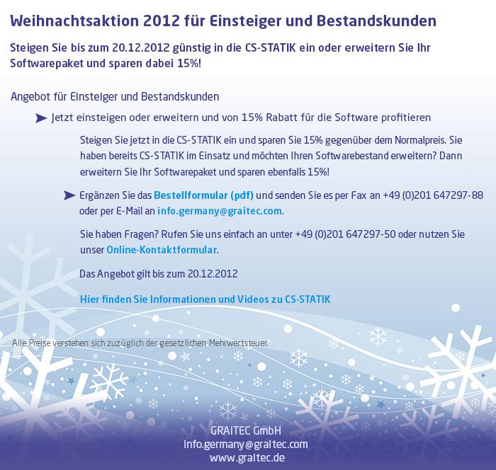 Weihnachtsaktion 2012 für Einsteiger und Bestandskunden