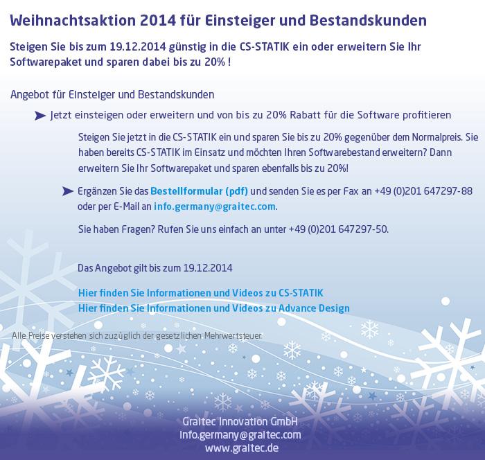 Weihnachtsaktion 2014 für Einsteiger und Bestandskunden