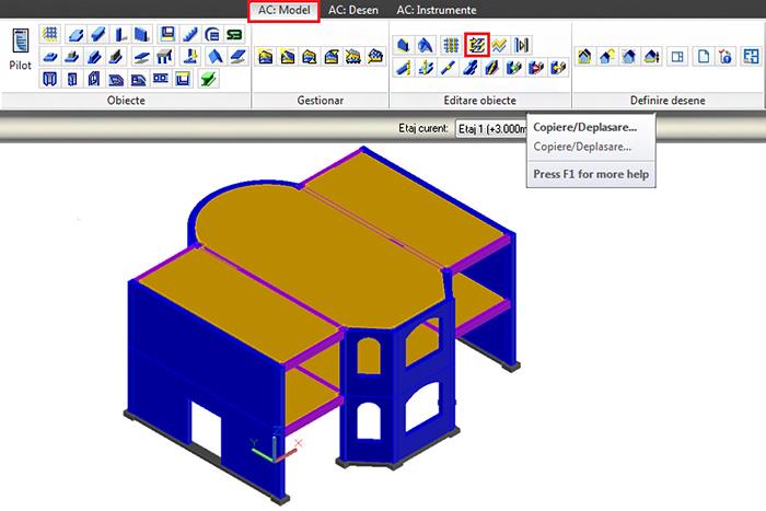 Cum se copiază-deplasează elementele structurale de pe un nivel?