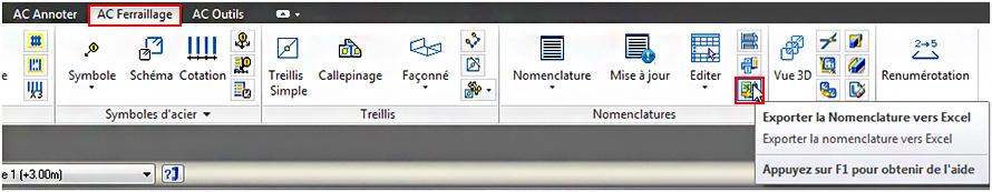 Comment exporter des nomenclatures Advance Concrete vers Excel?