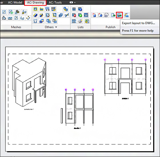 How can layouts be exported in the DWG format?