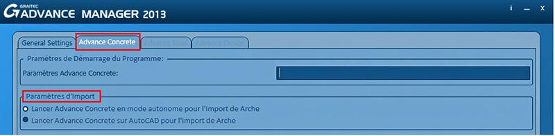 Comment modifier la plate-forme Advance Concrete pour l'import depuis Arche?