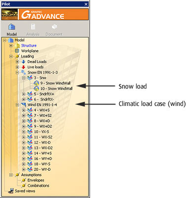 Advance Design: climatic load cases and loads are automatically displayed