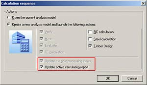 Automatic update of the calculation reports