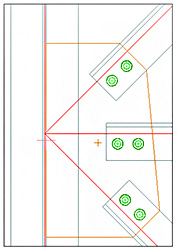 How is the gusset shaped for a joint with multiple secondary beams?