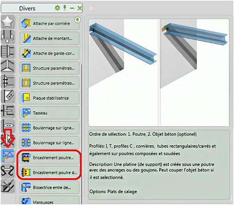 Quels assemblages automatiques utiliser entre le Béton et les éléments Advance Steel?