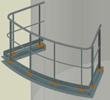 Advance Steel - Posibilitatea de a conecta mâna curentă a balustradelor drepte cu mâna curentă a balustradelor curbe